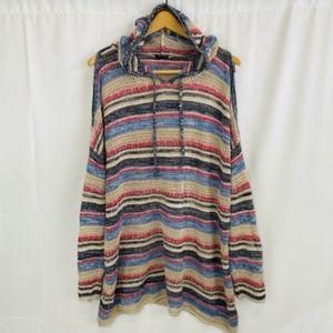 Torrid 3X Loose Knit Cold Shoulder Hooded Sweater